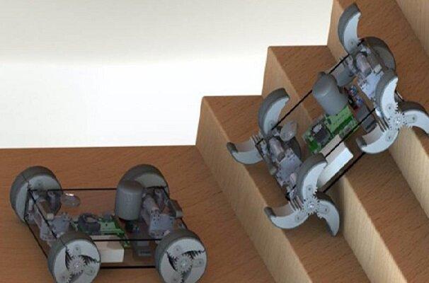 ربات چرخ پره ای از هر مانعی بالا می رود